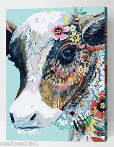 Framed-Painting-by-Number-kit-Color-Cattle-Head-Bull-Ox-Animal-Beast-DIY-ML7298
