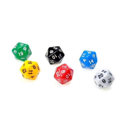 20 Seitige Spiele Würfel W20,D20//Dice Grün//Rot//Blau//Gelb//Orange//Schwarz