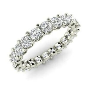 2.00 Ct Certified Real Moissanite Engagement Solid 18K White Gold Eternity Band