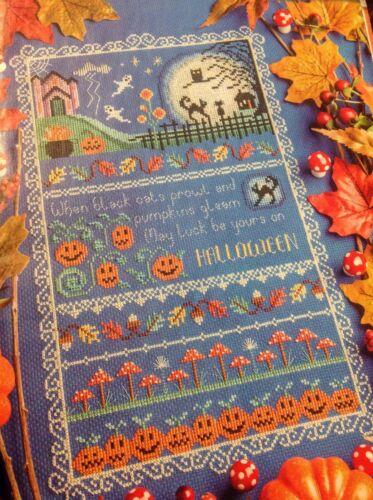 Halloween Sampler Pumpkin Ghost Black Cat Owl Autumn Cross Stitch Chart