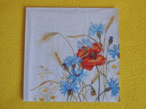 5 serviettes Barbeaux klatschmohn blé Serviettes technique Motif Serviettes transadantiques