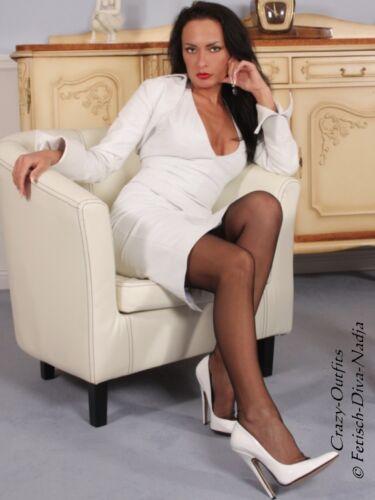 Maßanfertigung Weiß Leder Lederbolero Bolero Jacke Armkrempe gHCq4xX
