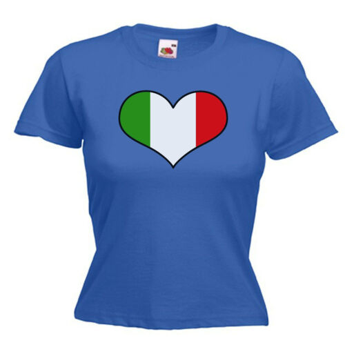 Italy Italian Love Heart Flag Ladies Lady Fit T Shirt 13 Colours Size 6-16
