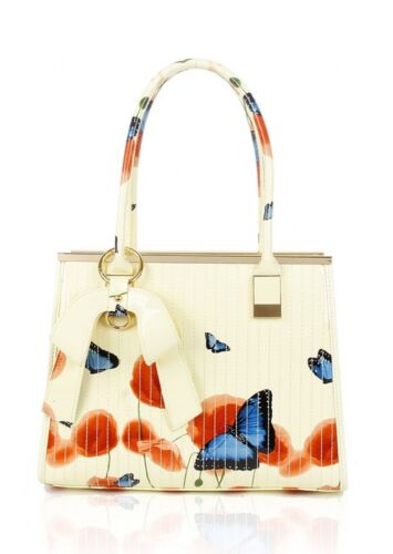 UK NEW LADIES MEDIUM PATENT FLOWERS BUTTERFLY BOW FAUX LEATHER STITCHED HANDBAG