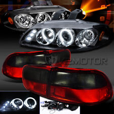 For 92-95 Civic 2DR 4DR Black HALO Projector LED headlight +Red Smoke Tail Lamp