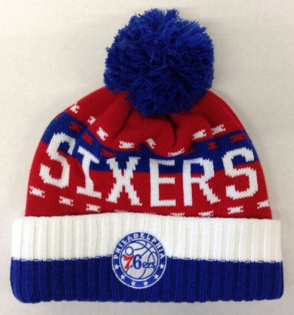 NBA Philadelphia 76ers Adidas Cuffed Pom Winter Knit Hat Cap Beanie Style   KX04Z 00fed786f0b6