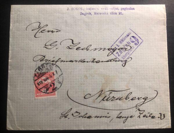 1916 Zagreb Croatie Autriche Militaire Censuré Couverture à Nuremberg Allemagne