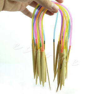18pcs 40cm 80cm Multicolor Tube Circular Bamboo Knitting Needles 2-10mm 18Size