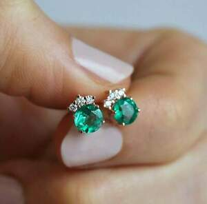 2-00-ct-Round-Cut-Green-Emerald-Diamond-Cluster-Stud-Earrings-14k-Rose-Gold-Over