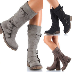 Womens-Zipper-Buckle-Mid-Calf-Boots-Vintage-Buckle-Sz35-43-Combat-Vintage-Shoes