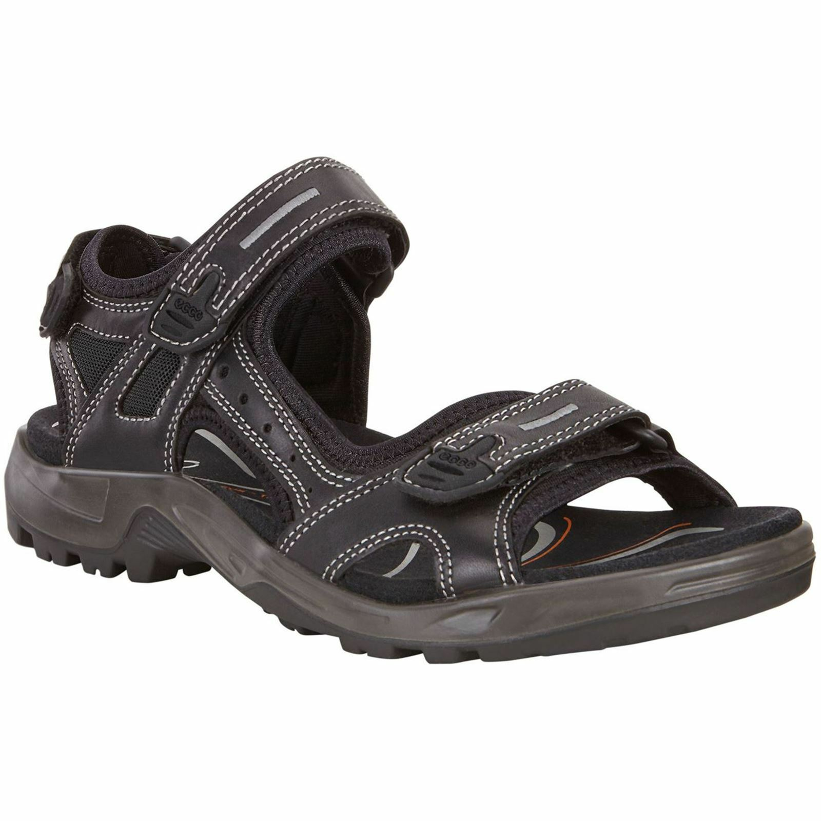 Ecco Offroad Black Mens Leather Summer Strappy Outdoor Activity Sports Sandals