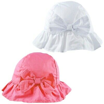 Baby Girls Sun Hat Summer Beach Cap White Broderie Anglaise Cotton 0-6 Months