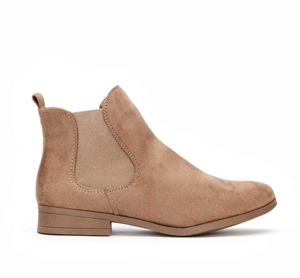 Wallis Womens UK 4 EU 37 Sand Brown Microfibre Pull On Chelsea Ankle Boots