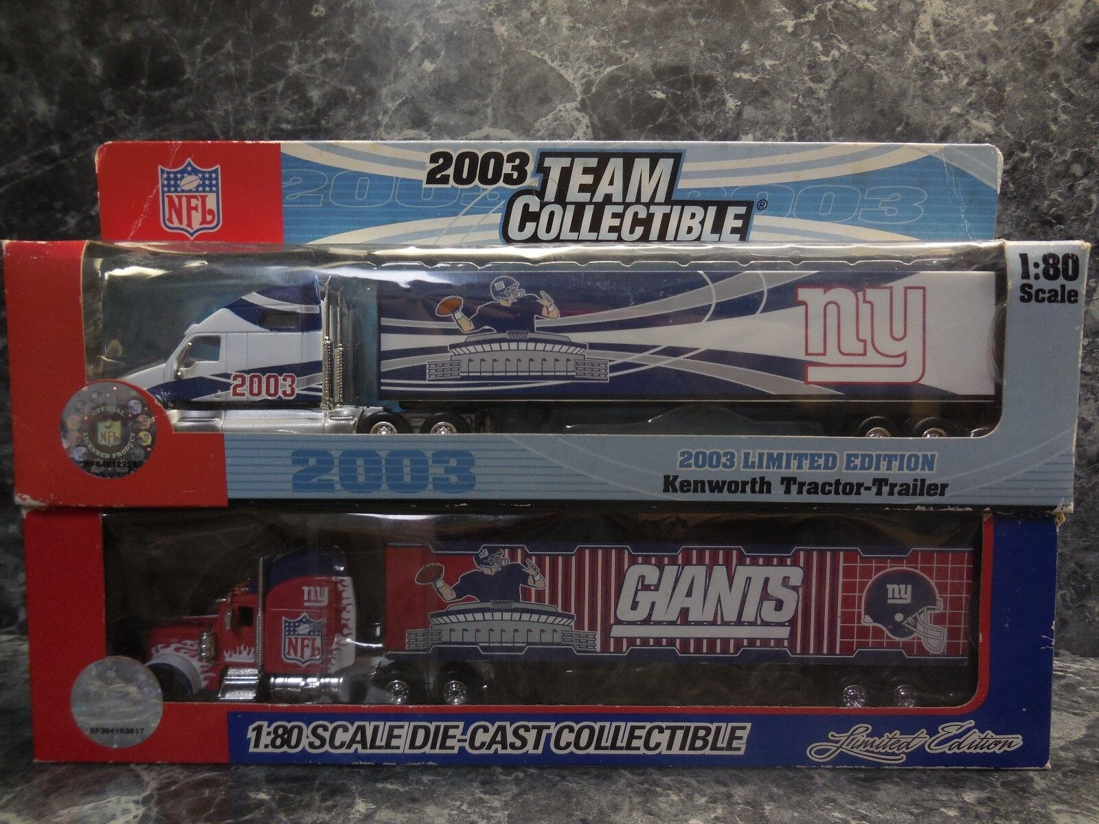 2 new york giants tractor trailers 1 2003 kenworth