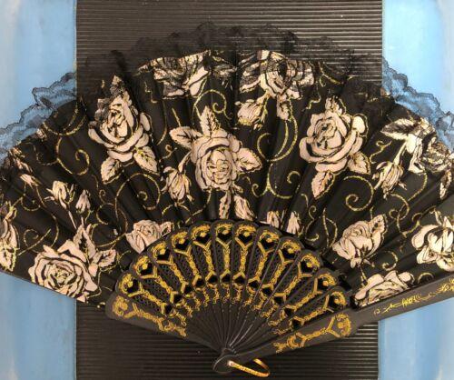 Abanicos De Mano Cubano//HandFan con diseños florales de colores,puntas de encaje