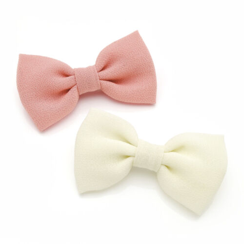 1 PAIR BOW HAIR BEAK CLIPS FLORAL /& PINK OR PINK /& CREAM