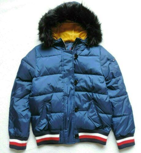 Blue Tommy Hilfiger Women/'s Faux-fur Hooded Puffer Jacket