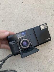 Contax-T-black-Rangefinder-35mm-Film-Kamera-Carl-Zeiss-2-8f-Point-amp-Shoot-getestet