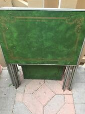 Set of (4) Vintage RETRO GREEN / Gold TV Folding Table Trays Mid Century La Vada