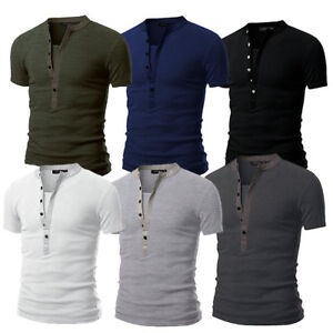 a4946b6c Men's Slim Fit V Neck Short Sleeve Muscle Tee T-shirt Casual Tops ...