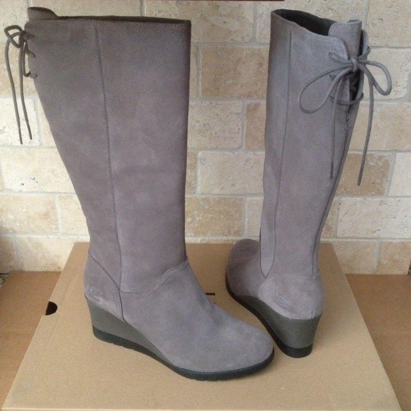 UGG Dawna Grey Suede Bow Cordones de caña alta con cordones impermeables hasta la rodilla Tamaño 6 Mujeres