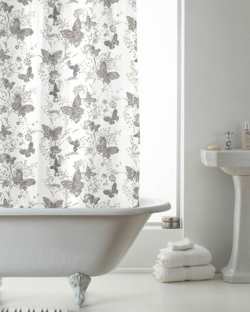 Country Club Shower Curtain 180x180 Skandi Grey Geometric Bathroom
