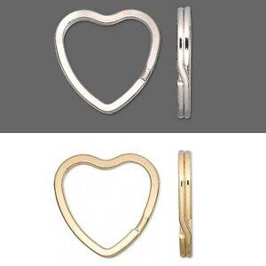 2 Silver base metal Heart shaped Split 30x31mm Keyrings Key Rings