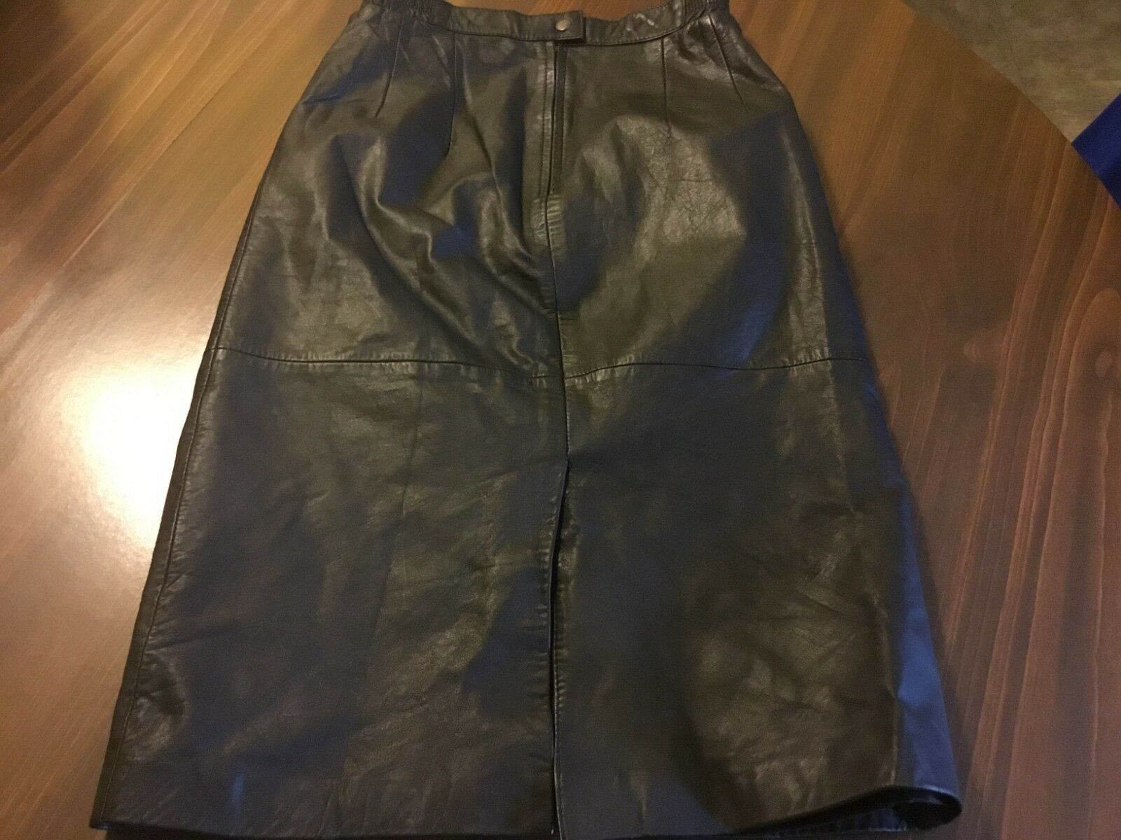 Vintage Black Real Leather PICCOLO Straight Pencil Midi Length Skirt Size UK6 W25