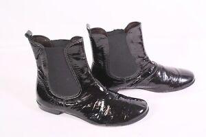 watch db190 456c1 Details zu 29D Homers Stiefeletten Chelsea Boots Gr. 38 Leder Lack schwarz  flacher Absatz