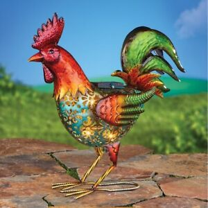 Solar Lighted Colorful Metal Rooster with Cutout Design Garden Sculpture