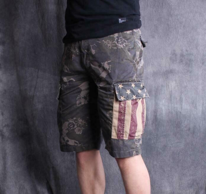 Mens Casual Floral Loose Fit Shorts Baggy Cotton Half Pants Retro Casual Zhou8