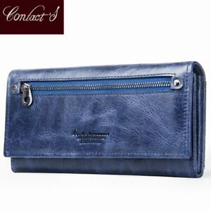 185544f5ff53 Details about Contact's Brand Blue Purse Genuine Leather Women Wallets  Female Long Lady Clutch