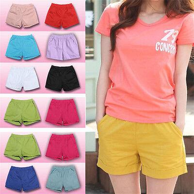 Casual Plus Size Mid-waist Pants Candy Color Shorts Elastic Cotton