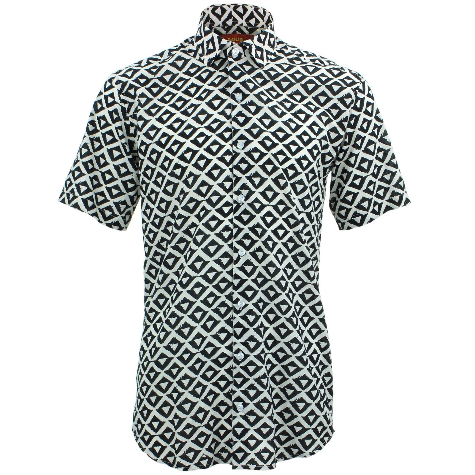 Mens Shirt Loud Originals TAILORED FIT Shapes White Retro Psychedelic Fancy