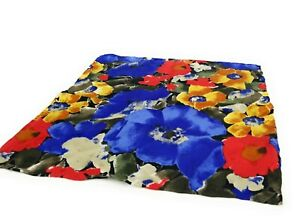 Vibtant-BRIONI-Floral-Silk-Pocket-Square-Hand-Rolled-LKNWOT-Blue-Poppy-Flowers