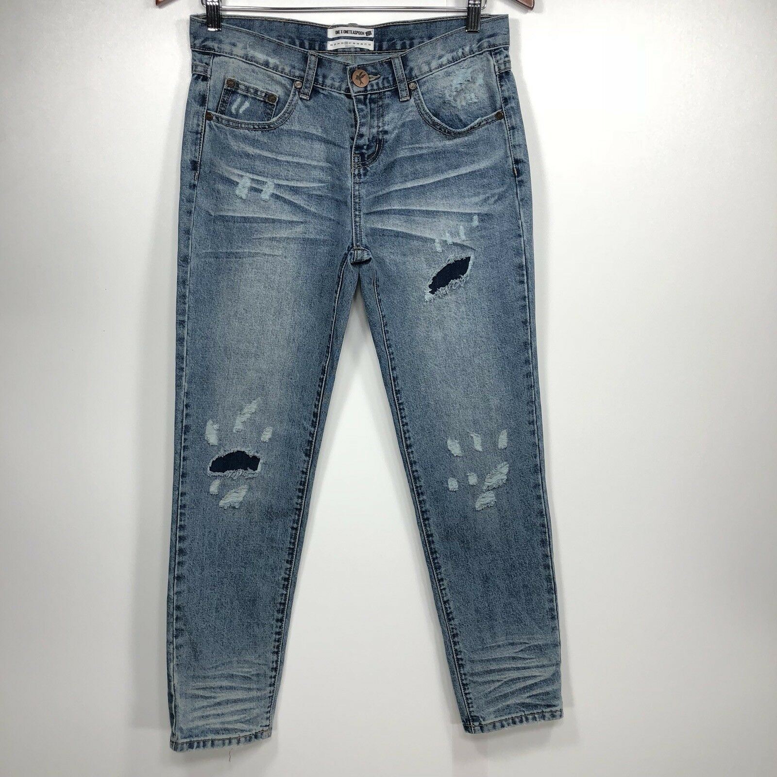 One Teaspoon Awesome Baggies Jeans 26 Womens Distressed Relaxed Leg bluee B39