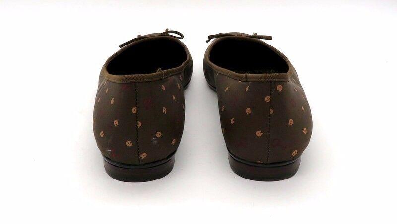 ETIENNE ETIENNE ETIENNE AIGNER Size 8.5 Brown Print Logo Slip On Ballet Flat shoes 27e3dc