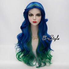 Blue Mixed Green 70cm Long Curly Hair Harajuku Lolita Women Cosplay Party Wig