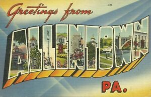 Greetings-From-Allentown-Pennsylvania-Large-Letter-Linen-Postcard