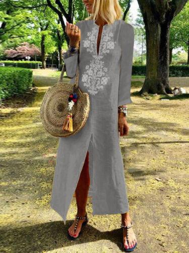 Women Long Sleeve Loose Paisley Cotton Linen Kaftan Long Maxi Dress F//1