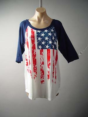 American US Flag Star Stripe Jersey Loose Baseball Tee Top 140 mv Shirt S M L XL
