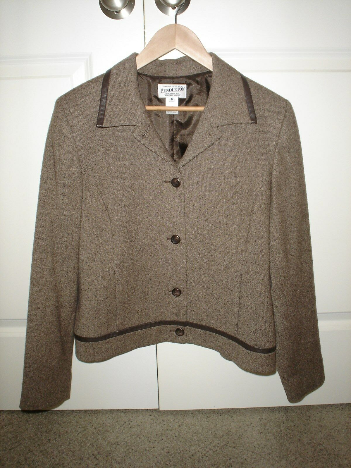 Pendleton Womens Brown 100% Virgin Wool Blazer   Leather Trim Size 12 (EUC)