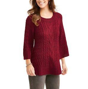Faded Glory Women s Oversize Chunky Cable Knit Sweater Merlot Size ... e2f23609f