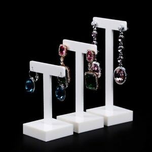 Image Is Loading White Acrylic Earring Display Holder With T Shaped
