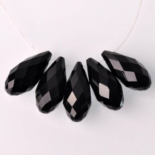 10pcs 25x12mm noir Teardrop Faceted Crystal Glass Loose Spacer Beads Pendentifs