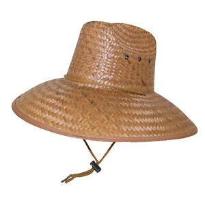 30eba2b2f0323 Image is loading New-MTL-Wide-Brim-Palm-Straw-Lifeguard-Hat