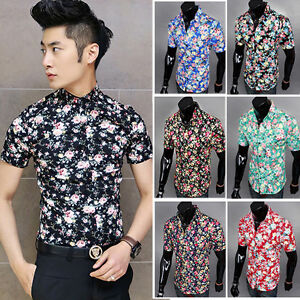 Fashion mens summer floral short sleeve button up slim fit for Fitted button up shirts mens