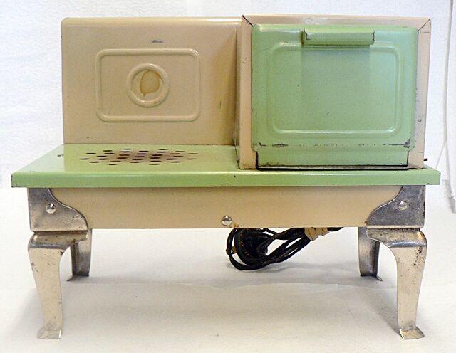 Vintage Juguete De Lata Electric Cocina Estufa Crema verde