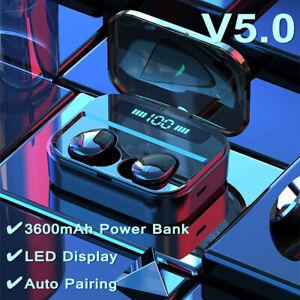 bluetooth-5-0-TWS-Inalambrico-Auriculares-LED-Estereo-Impermeable-Caja-de-Carga