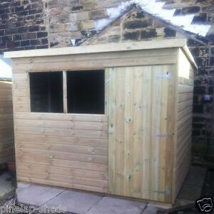 image is loading 7x6 tanalised wooden garden shed factory seconds pent - Garden Sheds 7x6